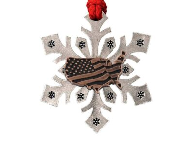 American Flag In USA Outline Large Snowflake Ornament
