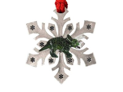 Triceratops Fossilized Full Body Snowflake Ornament