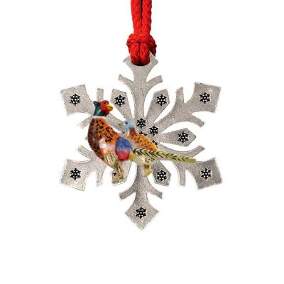 Cock And Hen Pheasant Snowflake Ornament