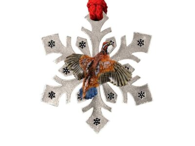 Bobwhite Quail Flying Right Bird Snowflake Ornament