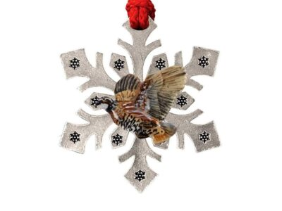 Bobwhite Quail Flying Left Snowflake Ornament