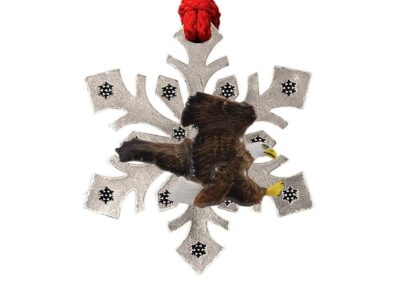 Bald Eagle Flying Snowflake Ornament