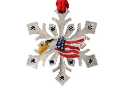 Bald Eagle Head With Flag Snowflake Ornament