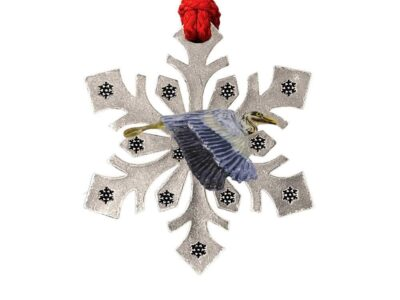 Blue Heron Flying Snowflake Ornament