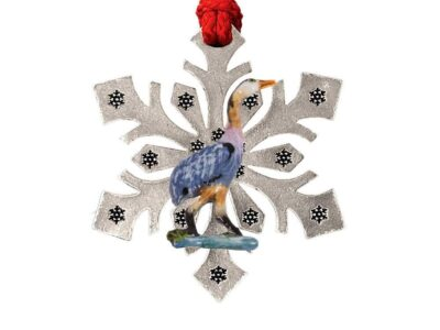 Blue Heron Standing In Grass Snowflake Ornament