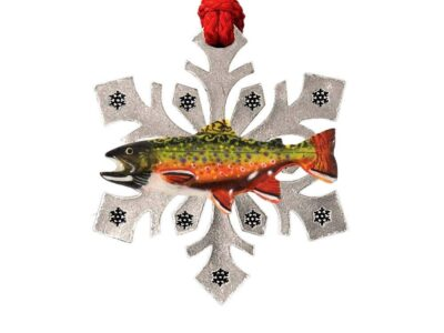 Brook Trout Leaping Snowflake Ornament