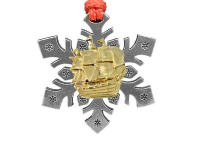 Wooden Ship Snowflake Ornament