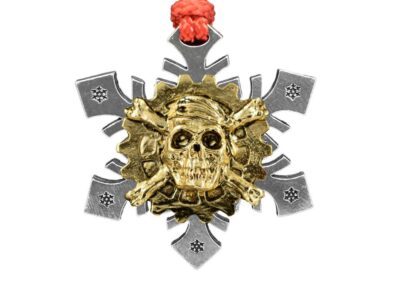 Skull And Cross Bones Gear Snowflake Ornament