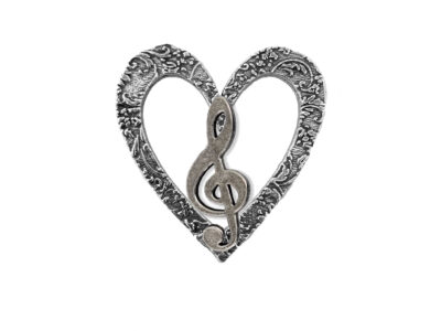 Treble Clef / Musical Note Heart Pin