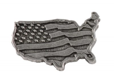 American Flag In Usa Outline Large Pin