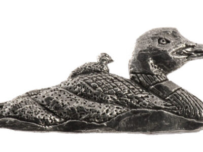 Loon With Chicks Premium Pin