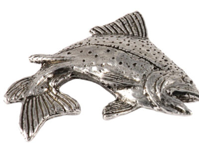 Rainbow Trout Leaping Right Premium Pin