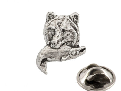 Grizzly With Salmon Tie Tack